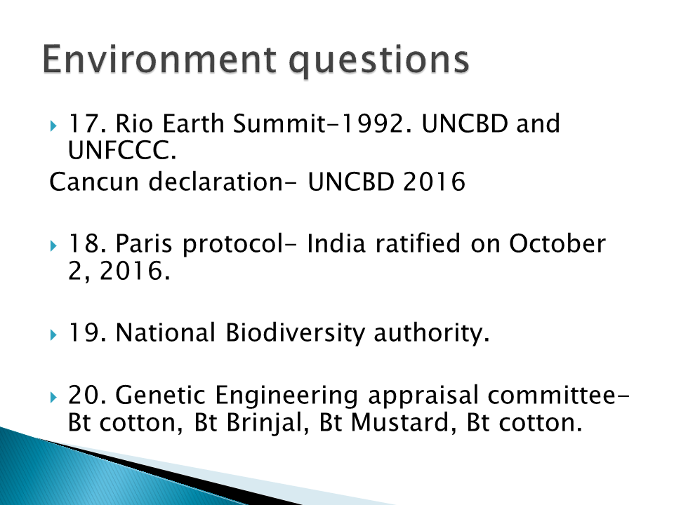 questions on environment