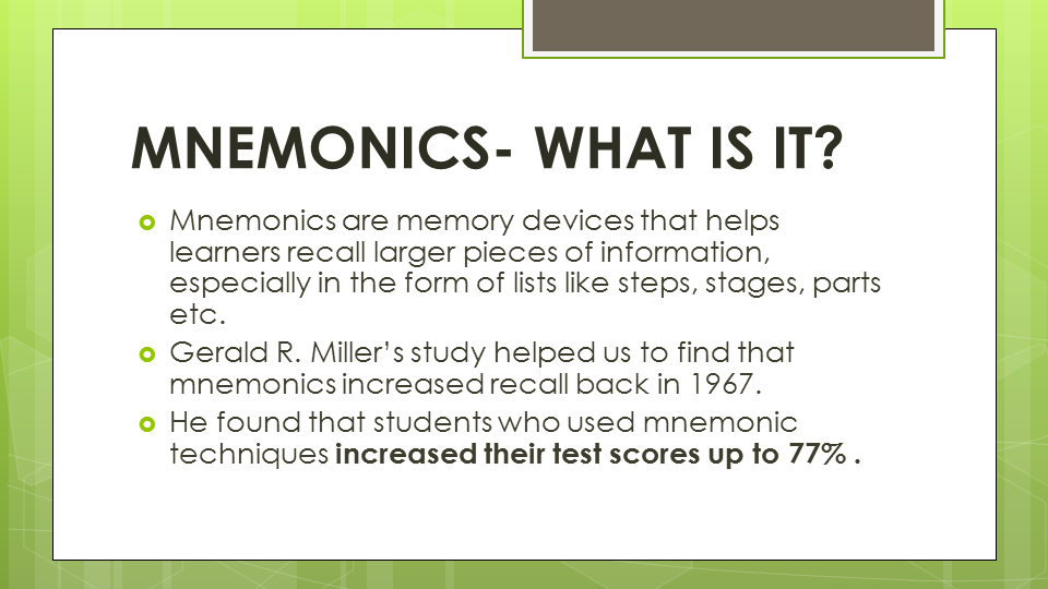 mnemonics memory and different mnemonic techniques